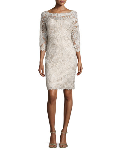 3/4-Sleeve Lace Cocktail Dress, Gold