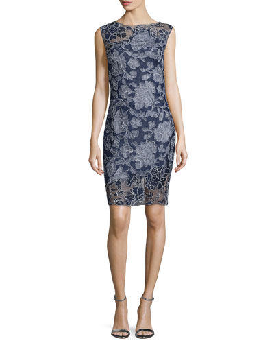 Cap-Sleeve Floral-Overlay Cocktail Dress