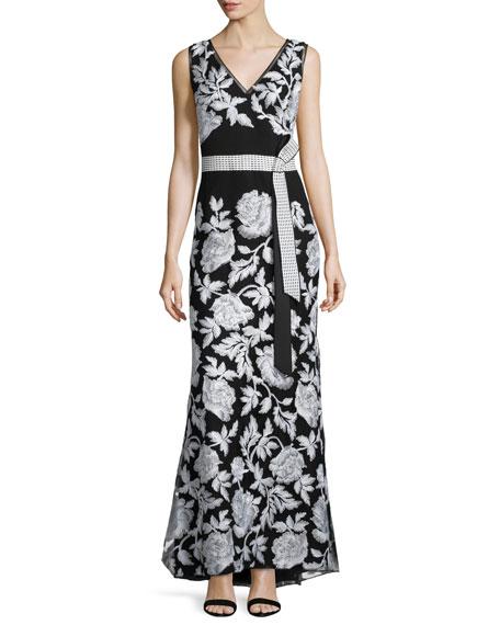 Tadashi Shoji Sleeveless Belted Floral-Embroidered Dress