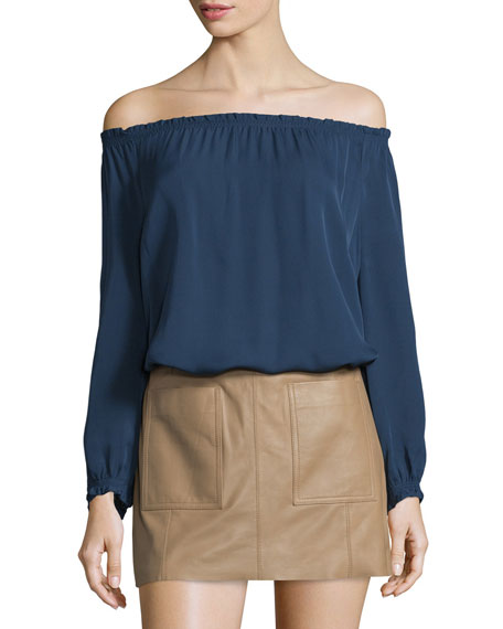 JoieBamboo Off-The-Shoulder Silk Top