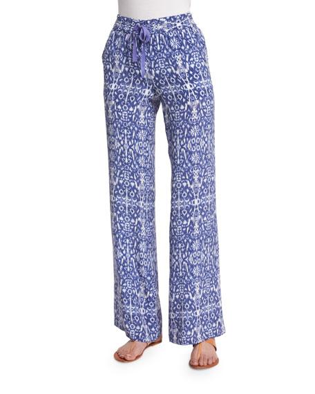 Joie Aryn Printed Wide-Leg Silk Pants