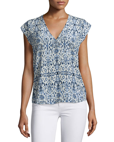 Joie Rubina Cap-Sleeve Printed Silk Top