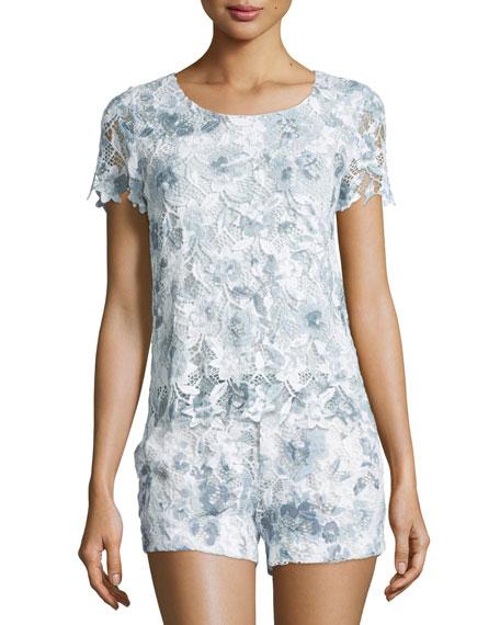 Joie Devine Short-Sleeve Lace Top, Dusk