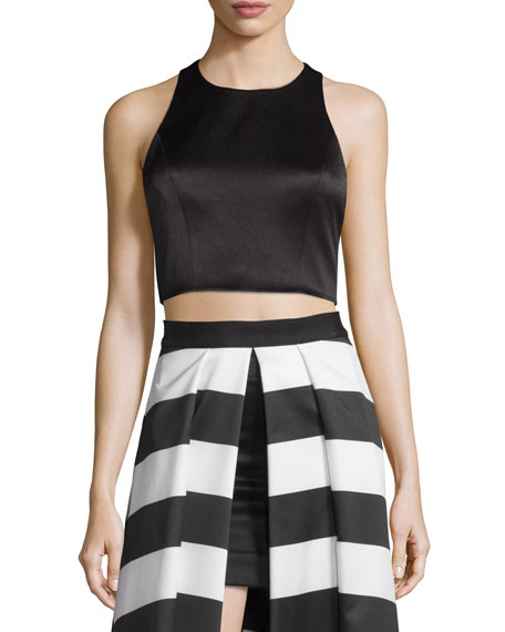 Alice + Olivia Tru Sleeveless Structured Crop Top,