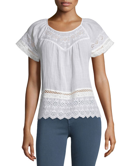 Joie Ladera Embroidered-Eyelet Short-Sleeve Top