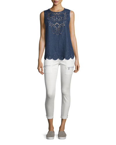Encycllia Sleeveless Eyelet Linen Top, Dark Indigo
