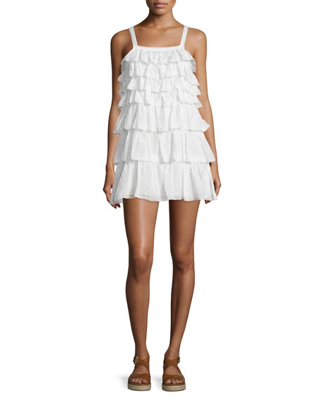 Joie Melanite Tiered Ruffle Dress, Porcelain