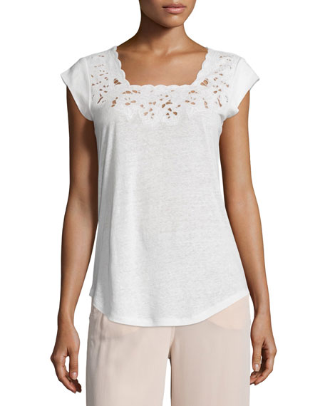 Joie Saqui Embroidered-Lace Top