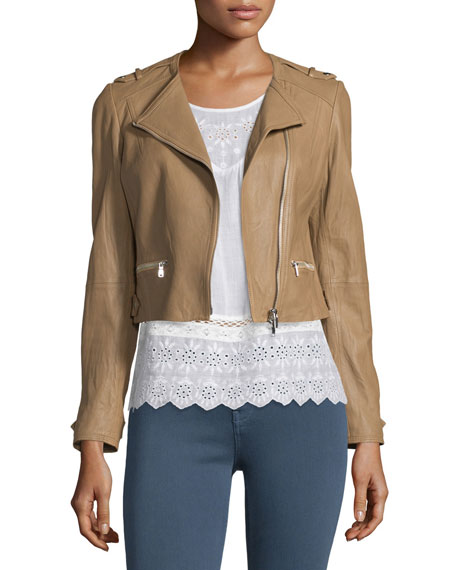 Joie Odina Asymmetric-Zip Soft Leather Jacket