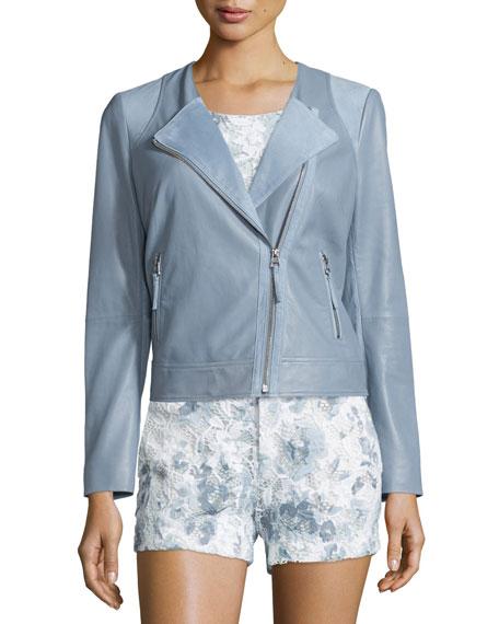 Joie Fifi Leather Moto Jacket, Bluebird