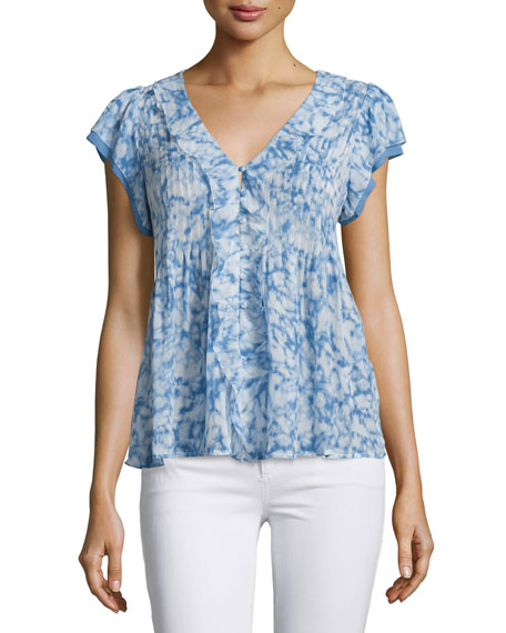 Joie Cayden Printed Cap-Sleeve Silk Top