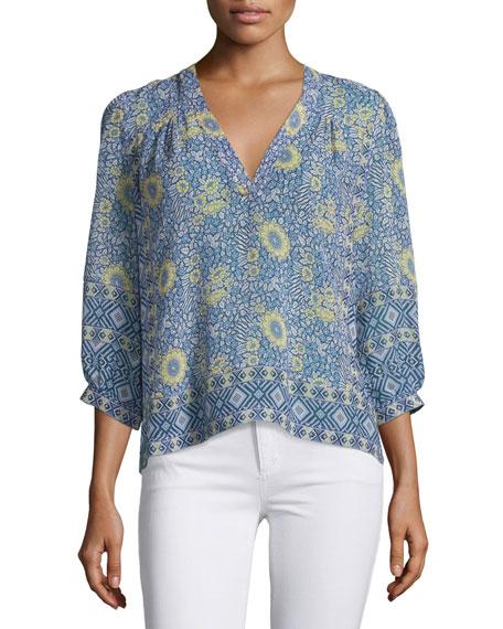 Joie Frazier Floral-Print Silk Top