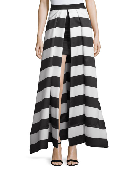 Alice + Olivia Mauri Split-Front Striped Skirt, Black/White