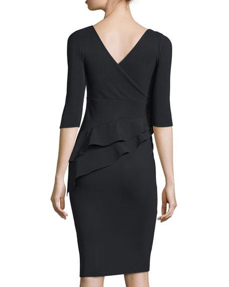 Faridamm Double-Peplum Sheath Dress, Nero