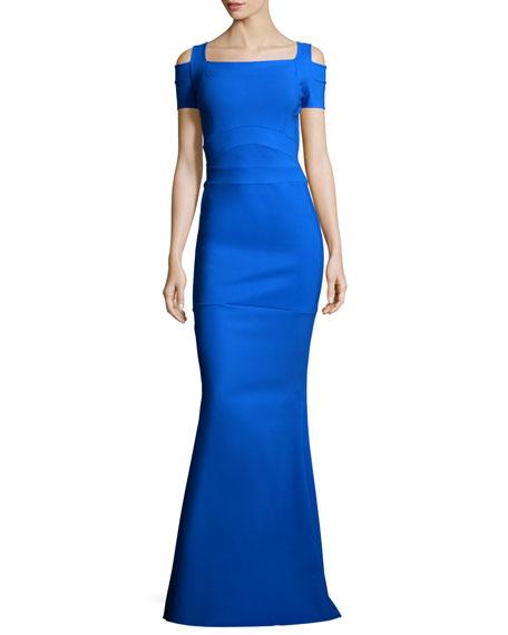 La Petite Robe di Chiara Boni Short-Sleeve Cold-Shoulder Mermaid Gown