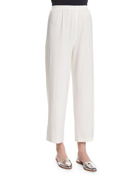Caroline Rose Wide-Leg Ankle Pants, White, Plus Size