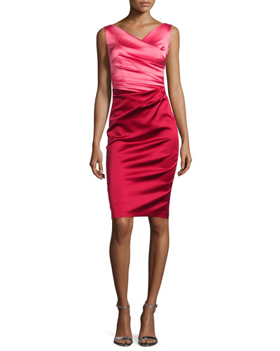 Colly Colorblock Ruched Cocktail Dress, Shocking/Scarlet