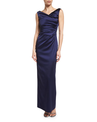 Colly Sleeveless Ruched Column Gown, Royal Navy