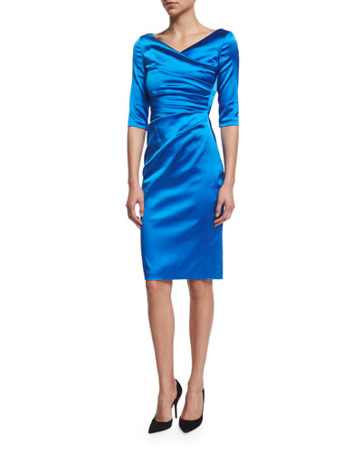 Colly Half-Sleeve Cocktail Dress, Imperial Blue