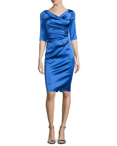Colly Half-Sleeve Ruched Cocktail Dress, Navy