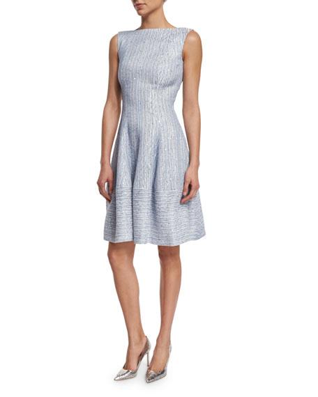 Talbot Runhof Golo Sleeveless Fit-&-Flare Dress, Oxford Blue