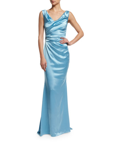 Holden Sleeveless Ruched Gown, Oxford Blue