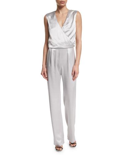 Kiana Sleeveless Straight-Leg Jumpsuit, Gray
