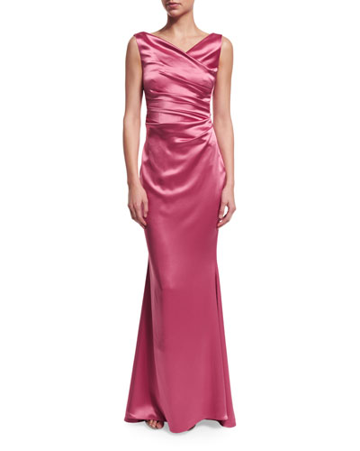 Kombo Sleeveless Ruched Gown, Fraise