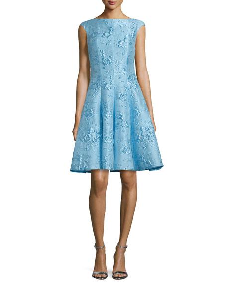 Talbot Runhof Korbut Cap-Sleeve Fit-&-Flare Dress, Oxford Blue