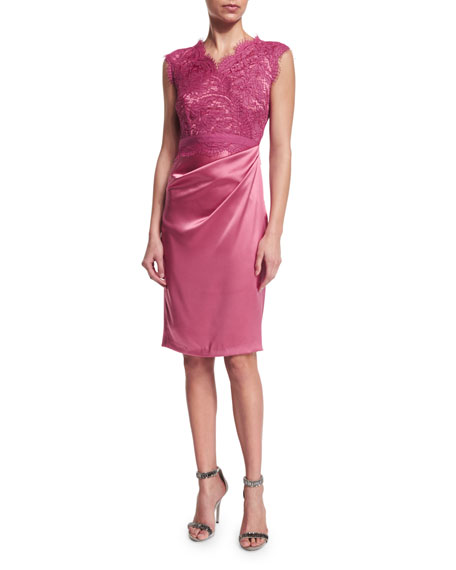 Talbot Runhof Korsmo Lace-Bodice Cocktail Dress, Fraise