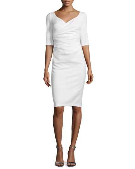Talbot Runhof Kortney Half-Sleeve Cocktail Dress, Ivory