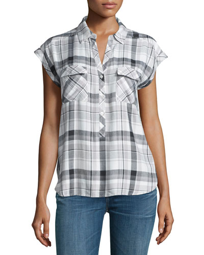 Johnesha Plaid Button-Down Top