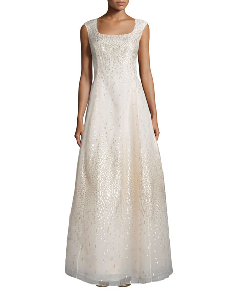 Kay Unger New York Metallic Dot Cap-Sleeve Gown,