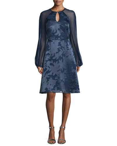 Sheer-Sleeve Burnout Dress, Navy
