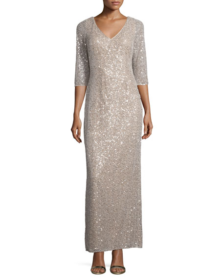 Kay Unger New York3/4-Sleeve Sequin Drape-Back Column Gown,