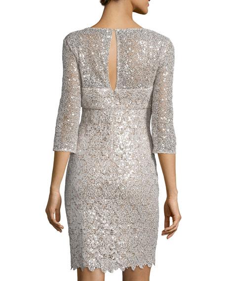 3/4-Sleeve Embellished-Lace Dress, Champagne