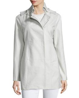 Long-Sleeve Slim-Fit Coat, Gray