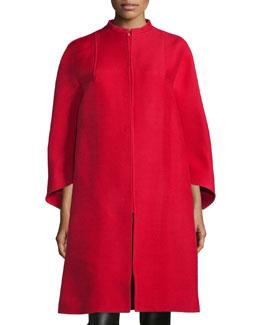 Wide-Sleeve Oversized Coat, Red