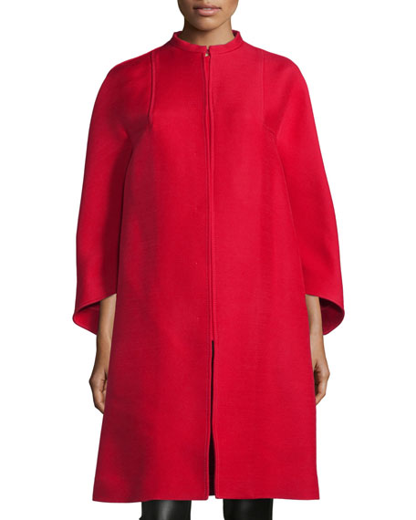 Valentino Wide-Sleeve Oversized Coat, Red