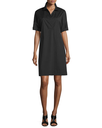 Mitra Short-Sleeve Shift Dress, Black