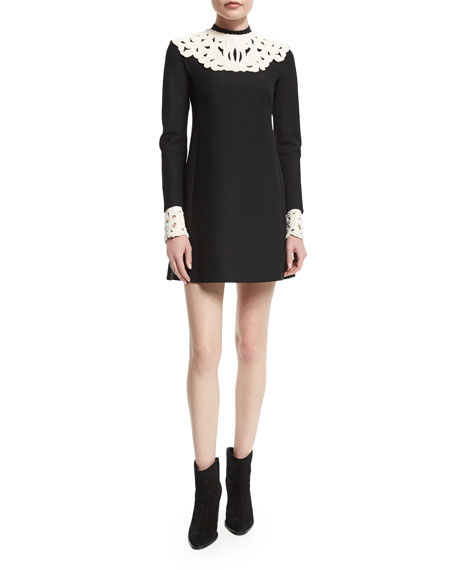 Valentino Long-Sleeve Two-Tone Shift Dress, Nero