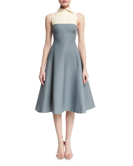 Valentino Sleeveless Collared Fit-&-Flare Dress, Silver