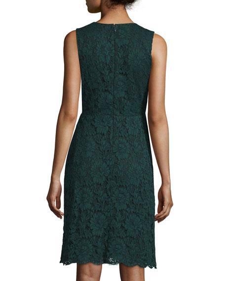 Sleeveless Lace Sheath Dress, Hunter