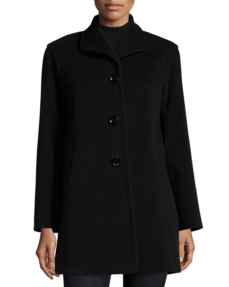 Cinzia Rocca Wing-Collar Button-Front Car Coat, Black