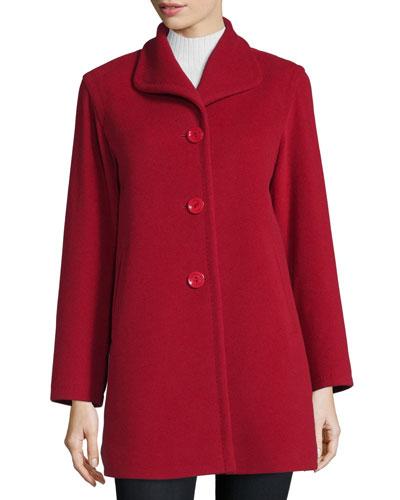 Wing-Collar Car Coat, Red