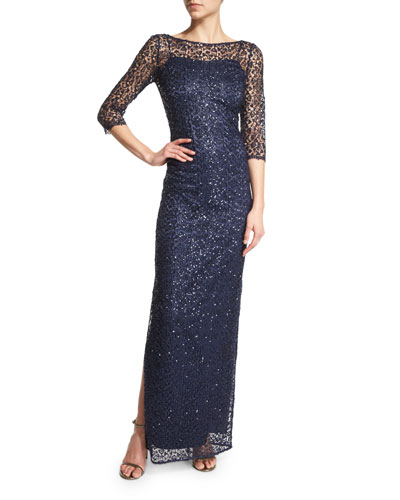 3/4-Sleeve Sequined Lace Column Gown, Navy