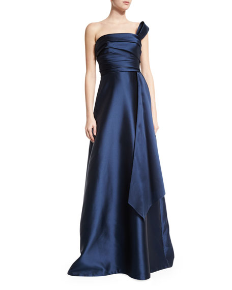 Theia Strapless Draped Ball Gown, Navy