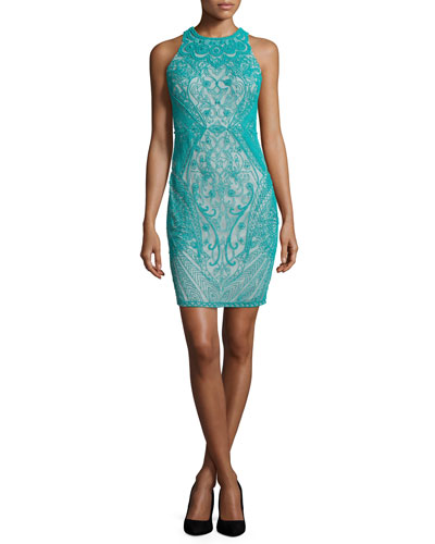 Sleeveless Beaded Sheath Cocktail Dress