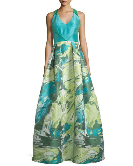 Theia Racerback Floral Jacquard Ball Gown