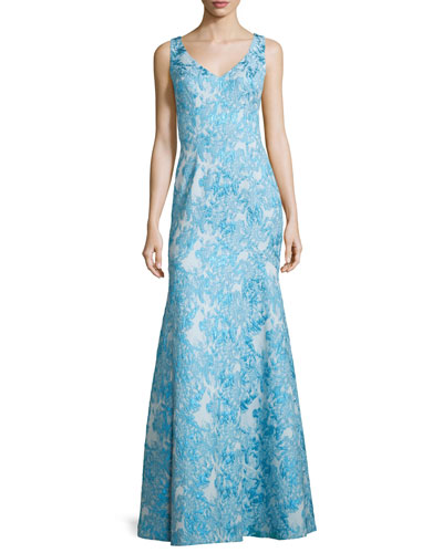 Sleeveless Brocade Mermaid Gown